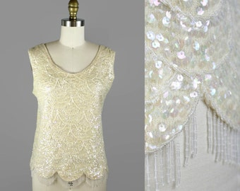 60s Vintage Sequin and Beaded Blouse / 1960s  Scallop Fringe Sequins Holiday Blouse size M L