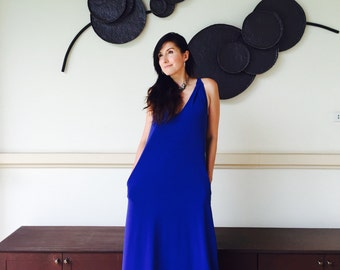 Royal blue  sleeveless long maxi dress - all size