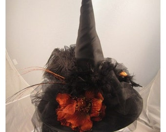 WITCHES HAT, WITCH Hat, Black Witch Hat, Orange Flowers, Feathers,Tulle,