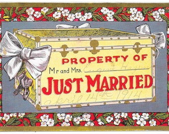 Just Married Postcard, 1914