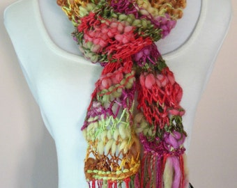 Boho Chic, Hand Knit Scarf, Long Scarf, Multicolored Scarf, Fun & Sassy Scarf, Hand Painted Yarn, Wool Blend, Bamboo Bloom Yarn