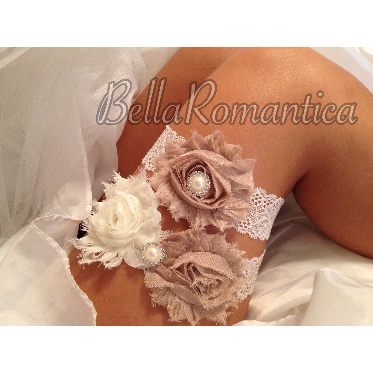 Country Wedding Garters: Taupe Wedding Garter Country Western Garter Set Taupe