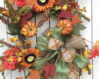 Burlap Pumpkin leaf door wreath, Fall Door wreath ,Burlap Pumpkin Wreath,Fall Wreath, Burlap Fall wreath,Sunflower fall wreath,fall wreathes
