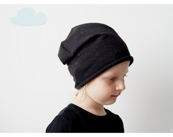 Beanie black sweat tweed