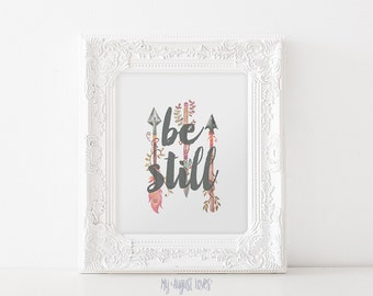 Be Still Printable Art with Watercolor Feather Arrows Inspirational Quote Art Watercolor Arrow Printable Art - INSTANT DOWNLOAD