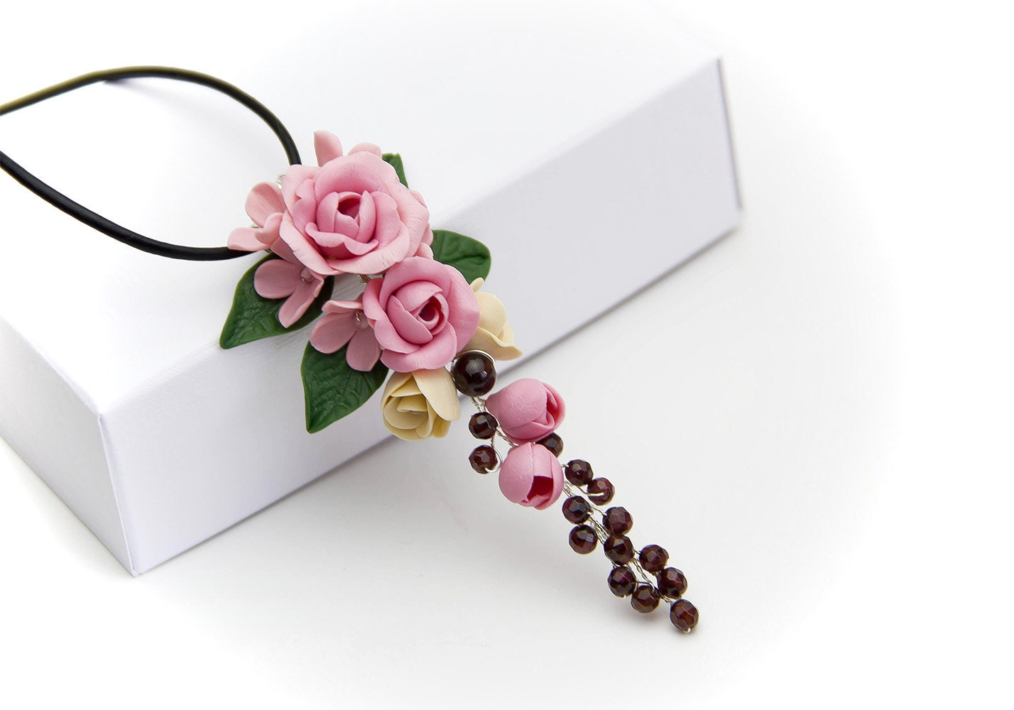 Floral Pendant Рolymer clay jewelry Рolymer clay flower Pink