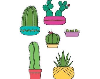 Art Print. 8x10. Southwest Succulents & Cacti.