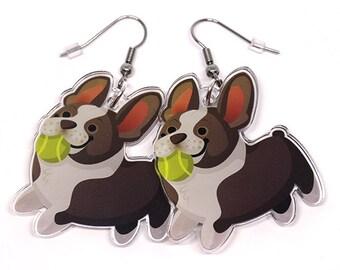 Cute Boston Terrier Earrings, Cute french bulldog earrings, Dog lover, Boston Owner, Boston terrier, bostons, kawaii, frenchie, dog earrings