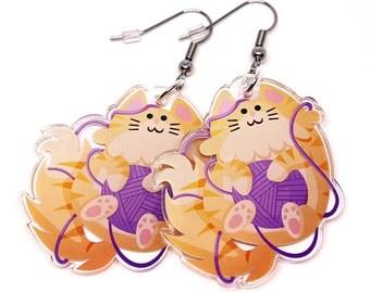 Cute Cat Earrings, neko, Cat earrings, cute kitty, kitten, cats, kawaii kitty, cute charm, kawaii, cats, cat lover, cat lady, tabby