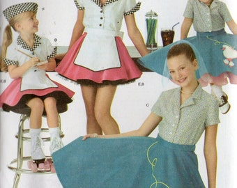 FABULOUS 50's COSTUMES Simplicity Pattern 3836 Car Hop/Poodle Skirts Child Sizes 3 4 5 6