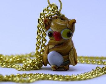 Glass Owl Pendant Necklace