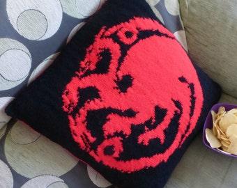 "Instant Download Cushion Knitting Pattern ""Targaryen"" (Game of Thrones), for straight needles"