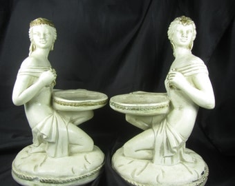 Universal Statuary Maiden Candle Holders, vintage statue, candle holder, collectible