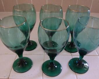 6 Green Glass Wine Goblets