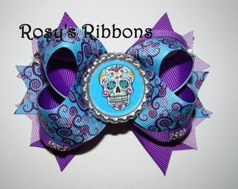Day of the dead bow, Dia De Los Muertos bow, Sugar skull bow, Dia de los muertos. Day of the dead