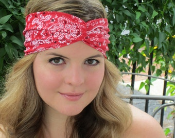 Red Bandana, Red Bandana Headband, Black Bandana, Bandana Headband, Beach Headband, Country Music Headband,Beige Bandana, Mothers Day Gift