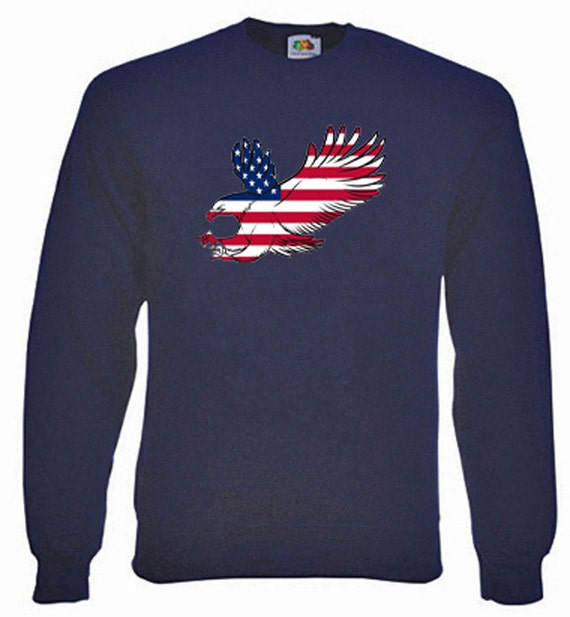 American Eagle Flag Sweatshirt. Fleecy Lined Ribbed Cuffs and Neck