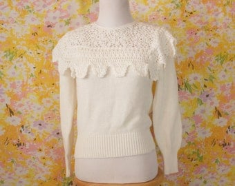 Snow White Lace Knit Sweater