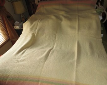 Vintage Antique Wool Blanket , Canadian Made , 59 by 79 inches, original label ,pastel color borders
