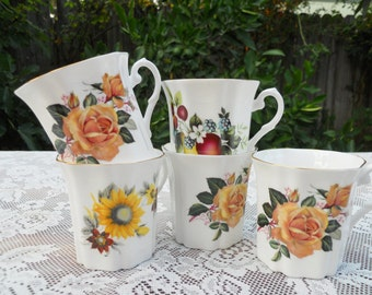 Set of 5 Royal Grafton Mugs Fine Bone China England