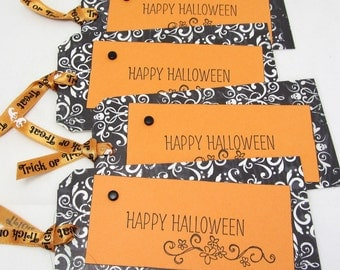 Large Halloween Tags - Set of Four Tags - Halloween Decoration - Halloween Gift Tags - Black and Orange Tags - Trick or Treat Tags