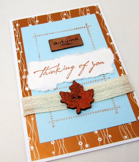 Thinking of You Card - Copper Colored Card - Copper and Soft Blue - Autumn Card - Blank Card - Ivory and Copper - Autumn Leaf - Burlap