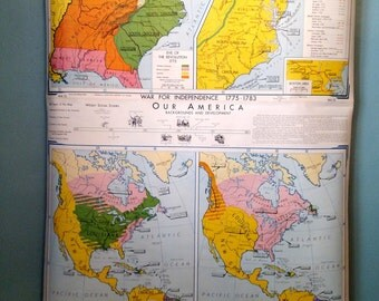 Vintage Denoyer Pull Down School Map- War for Independence1775-1783/Struggle for a Continent 1689-1800