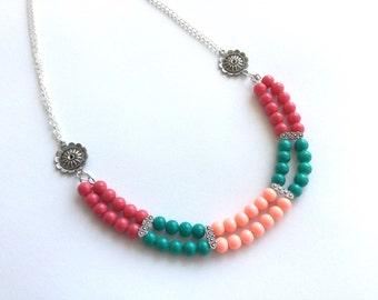 Color block necklace, fuchsia/peach/teal