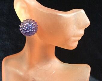 Vintage Blue-Purple Irridesent Beaded Dome Earrings