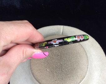 Vintage Colorful Floral Enameled Cloisonne Bangle Bracelet