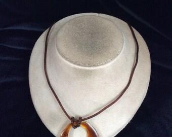 Vintage Large Brown Enameled Pendant Necklace