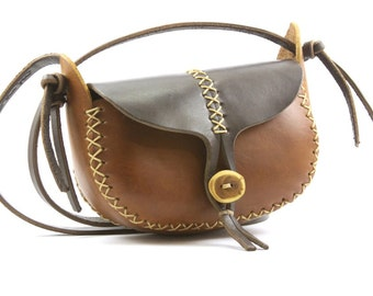 hand made leather purse. small leather bag. the wren in light and dark brown vegetable tanned leather. wood button. READY TO SHIP.