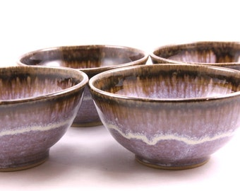 hand made bowls. stoneware bowls. set of 4 ceramic bowls. hand thrown pottery bowls. flowing lavender glaze. set of four.  READY TO SHIP