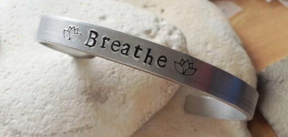 Breathe meditation Mantra bracelet with lotus flower adjustable -handstamped