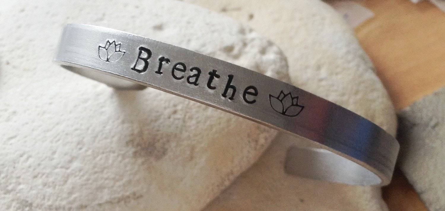 Breathe meditation Mantra bracelet with lotus flower adjustable -handstamped