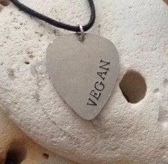 Vegan guitar plectrum necklace on black cotton cord