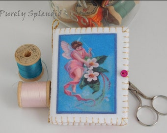 Fairy Sewing Needle Book, notion, needle case keeper, pin or needle wallet, embroidery needle organizer, quilting accessory, Valentine gift