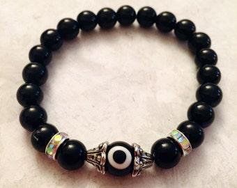 Evil Eye bead with Black Jasper stone beaded bracelet, evil eye bracelet, protection jewelry, stackable, gifts for her