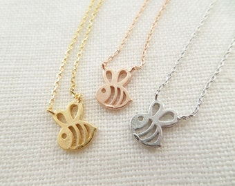 Teeny Tiny Honey Bee Necklace, Bumble Bee necklace, Gold, Rose, Gold or Silver Bee necklace----simple and dainty, everyday necklace