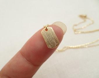 Mini Dog Tag Initial Necklace - Teeny Tiny Gold Dog Tag-- Personalized Initial necklace