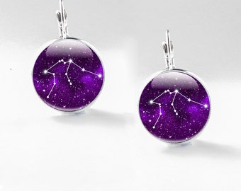 Aquarius Jewelry - Zodiac Jewellery - Aquarius Constellation Earrings (AJZJ1)