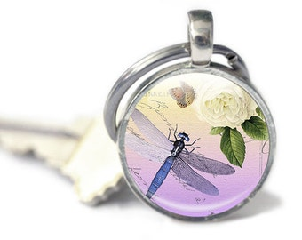 Photo key chains - Glass Keyrings -  Dragonfly keychain - Dragonfly Picture Keyring (DPKC2)
