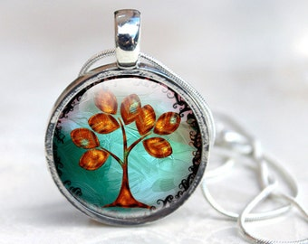 Tree Pendant - glass dome pendant - Tree Picture Necklace - Glass Photo necklace (TP1)