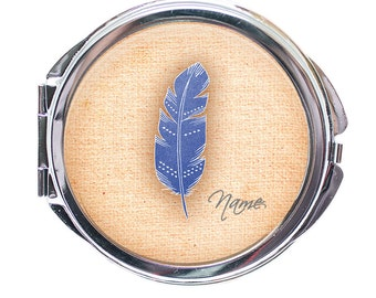 Pocket Mirror Personalised - Personalised Feather Pocket Mirror - Feather Personalised Pocket Mirror