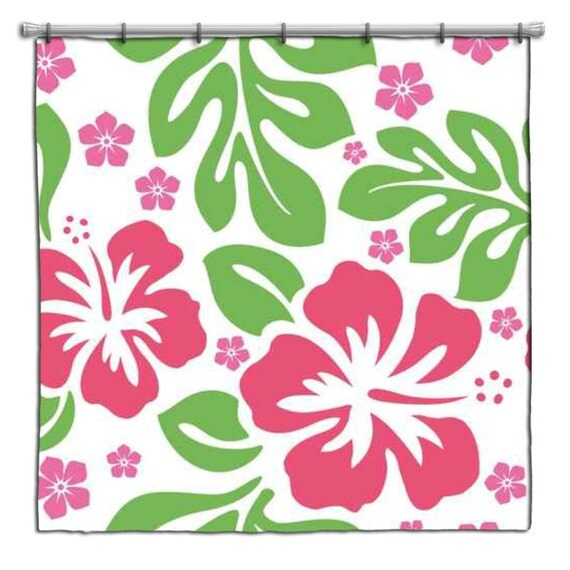 hawaiian pink and green hibiscus shower curtain by