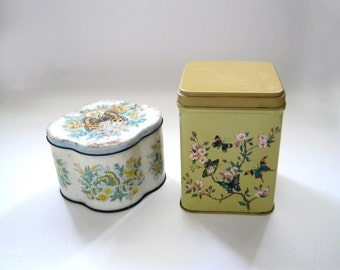 2 Butterfly Tins, Tin Box, Daher and J L  Clark, Butterfly Design, Tea Tin, Biscuit Tin, Metal Container, Storage Home Decor