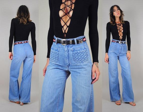 WOVEN pocket vtg 70's HIGH WAIST bell bottom flared Jeans