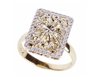 14K Two-Tone Diamond-Cut Rectangle Ring, Rectangle Ring, Diamond-Cut Ring, 14K Gold Ring, Gold Ring, Fancy Ring, Fancy Jewelry, Gold Jewelry