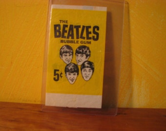 1964 Topps The Beatles Black & White 5-Cent Wax Pack Card Wrapper