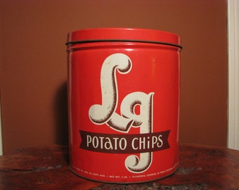 Vintage LG Potato Chip Tin
